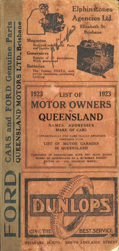 Advertisement for the List of Motor Owners in Queensland