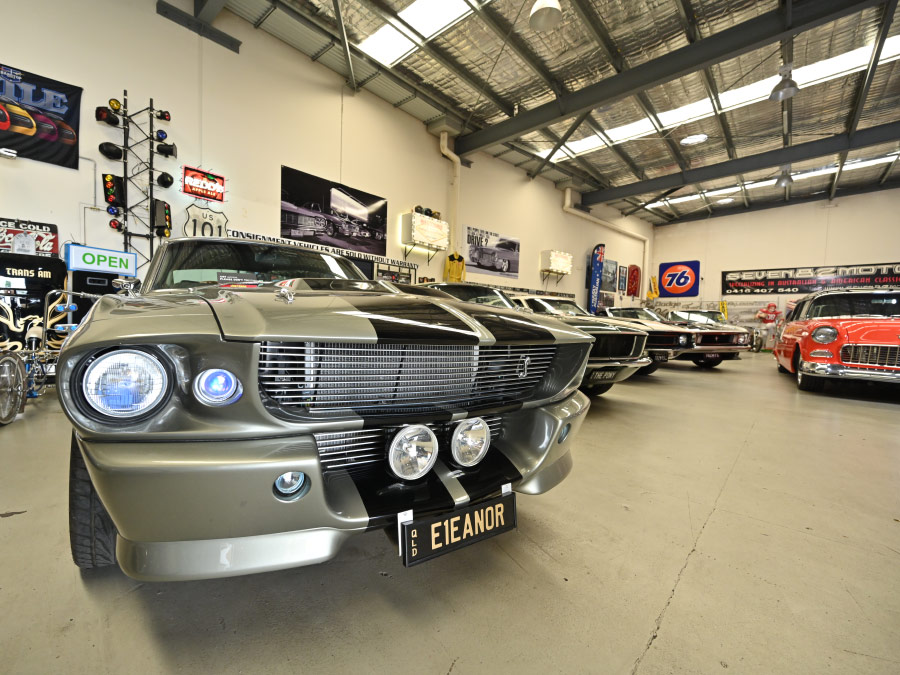 Some of the vintage cars in Ben's shop