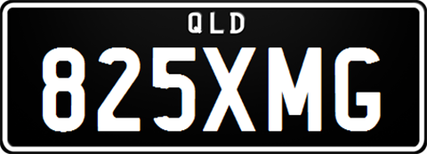Classic Plate with white lettering on a black background and no diamond separator standard size