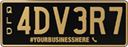 Preview of a Gold on Black Colour Plate with goldwriting on a black background. The combination reads 3 4 5 H F S. The caption below the combination reads #YOURBUSINESSHERE (phone symbol)