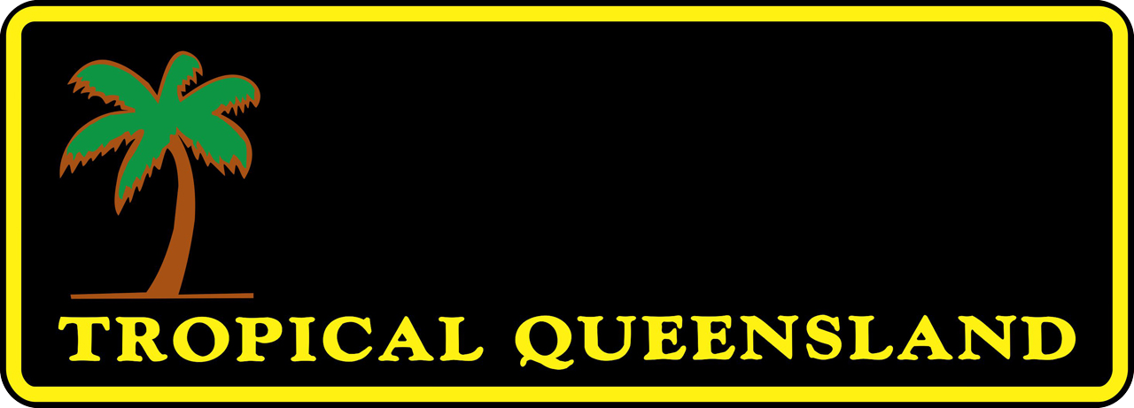 An early Personalised Plate. The plate has a black background, with a bright yellow border around the edge. To the left side of the plate is an illustration of a palm tree, with empty space to the right where the combination would be. Underneath the combination space is the slogan 'Tropical Queensland' in a small, bright yellow font.