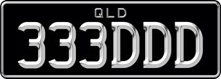 3D plate with chrome effect writing on a black background. The combination reads 3 3 3 D D D.