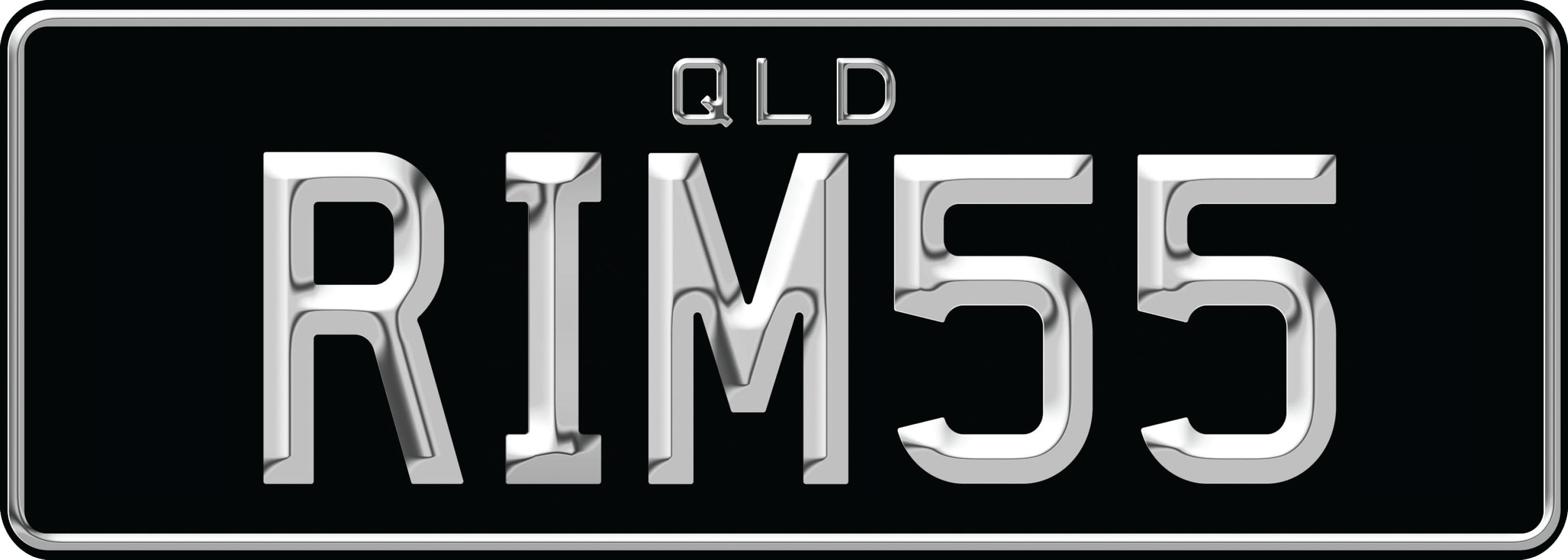 A 3D style personalised plate, with chrome effect text on a black background. The letters Q L D are in the center top of the plate in a small font, with the combination in a bigger font below. The combination reads R I M 5 5
