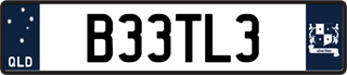 Navy European plate with black writing on a white and navy blue background. The combination reads B 3 3 T L 3.