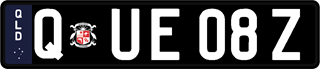 Black classic European plate with white writing on a black and navy blue background. The combination reads Q (space) E U 0 8 (space) Z.