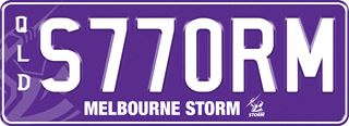Melbourne Storm NRL plate with white writing on a purple background. The combination reads S 7 7 0 R M. The words 'Melbourne Storm' and the team logo are beneath the combination.