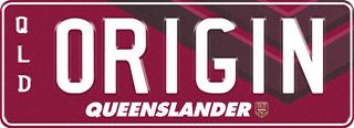 Queensland State of Origin NRL plate with white writing on a maroon background. The combination reads 0 R 1 G 1 N. The word 'Queenslander' and the team logo are beneath the combination.