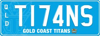 Gold Coast Titans NRL plate with white writing on a blue background. The combination reads T 1 7 4 N S. The words 'Gold Coast Titans' and the team logo are beneath the combination.