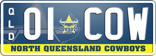 North Queensland Cowboys NRL plate with white writing on a dark blue background. The combination reads 0 1 (team logo) C O W. The words 'North Queensland Cowboys' are beneath the combination.
