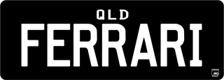 Flexi Prestige plate with white writing on a black background. The combination reads F E R R A R I.