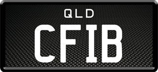 Framed Prestige plate with white writing on a carbon fibre background. The combination reads C F I B.