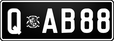 Signature Series Q Plate with white writing on a black background. The combination reads Q ('Safe Journey' crest) A B 8 8.