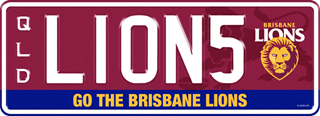 Brisbane Lions Team plate with white writing on a maroon background. The combination reads L 1 0 N 5 with the team logo to the right of the combination. The words 'Go the Brisbane Lions' are beneath the combination.