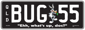Bugs Bunny theme plate with white writing on a black background. The combination reads B U G (image of Bugs Bunny) 5 5. The words 'Ehh, what's up, doc?' are beneath the combination.