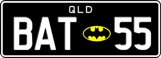Batman theme plate with white writing on a black background. The combination reads B A T (Batman logo) 5 5.
