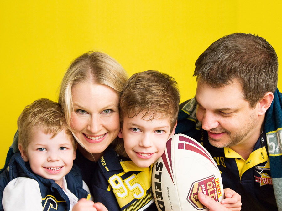 The family showing off their North Queensland Cowboys supporter gear